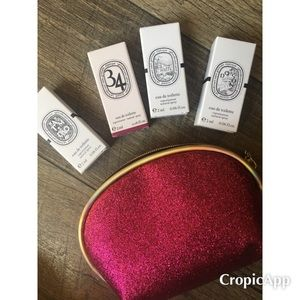 4 Diptyque Samples and Pink Juice Couture Zip bag